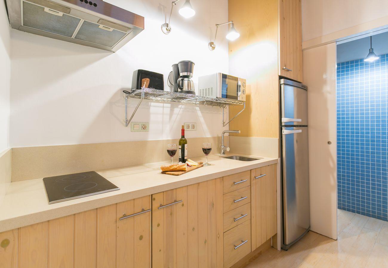 cocina básica con vitrocerámica en apartamento cerca de la playa de Barceloneta