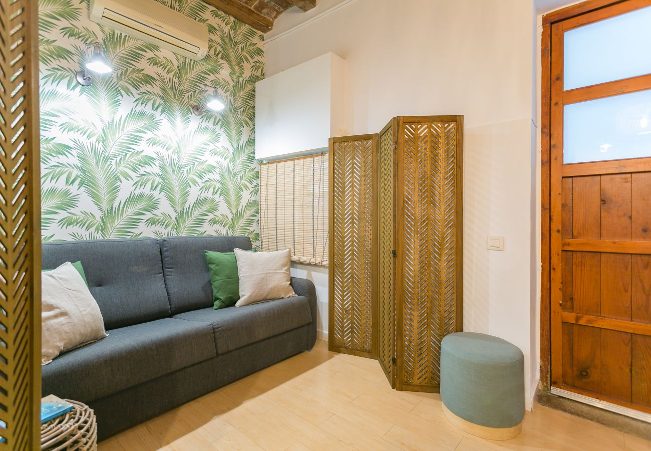 salón rincón relax en piso de 1 habitación en Barceloneta